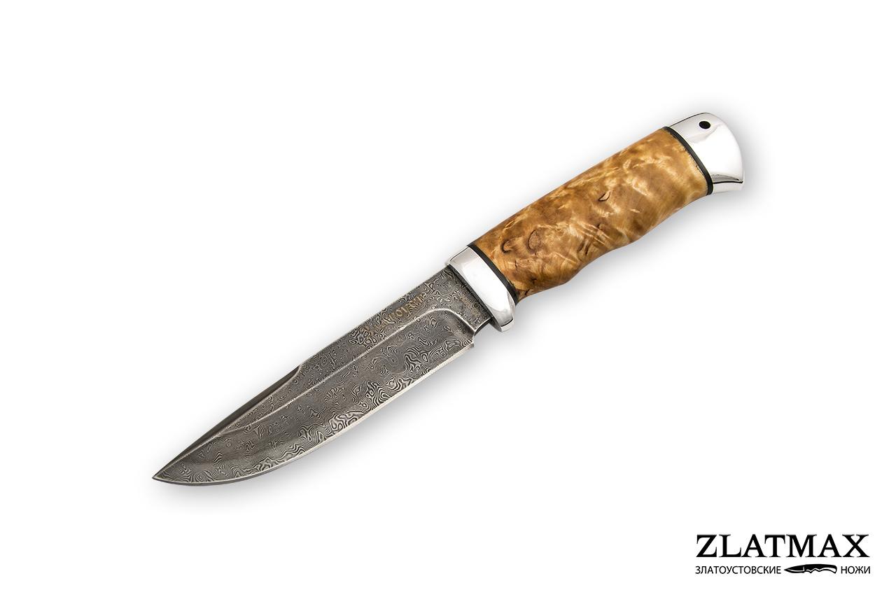 Нож Путный (Дамаск ZDI-1016, Карельская берёза, Алюминий) фото 01