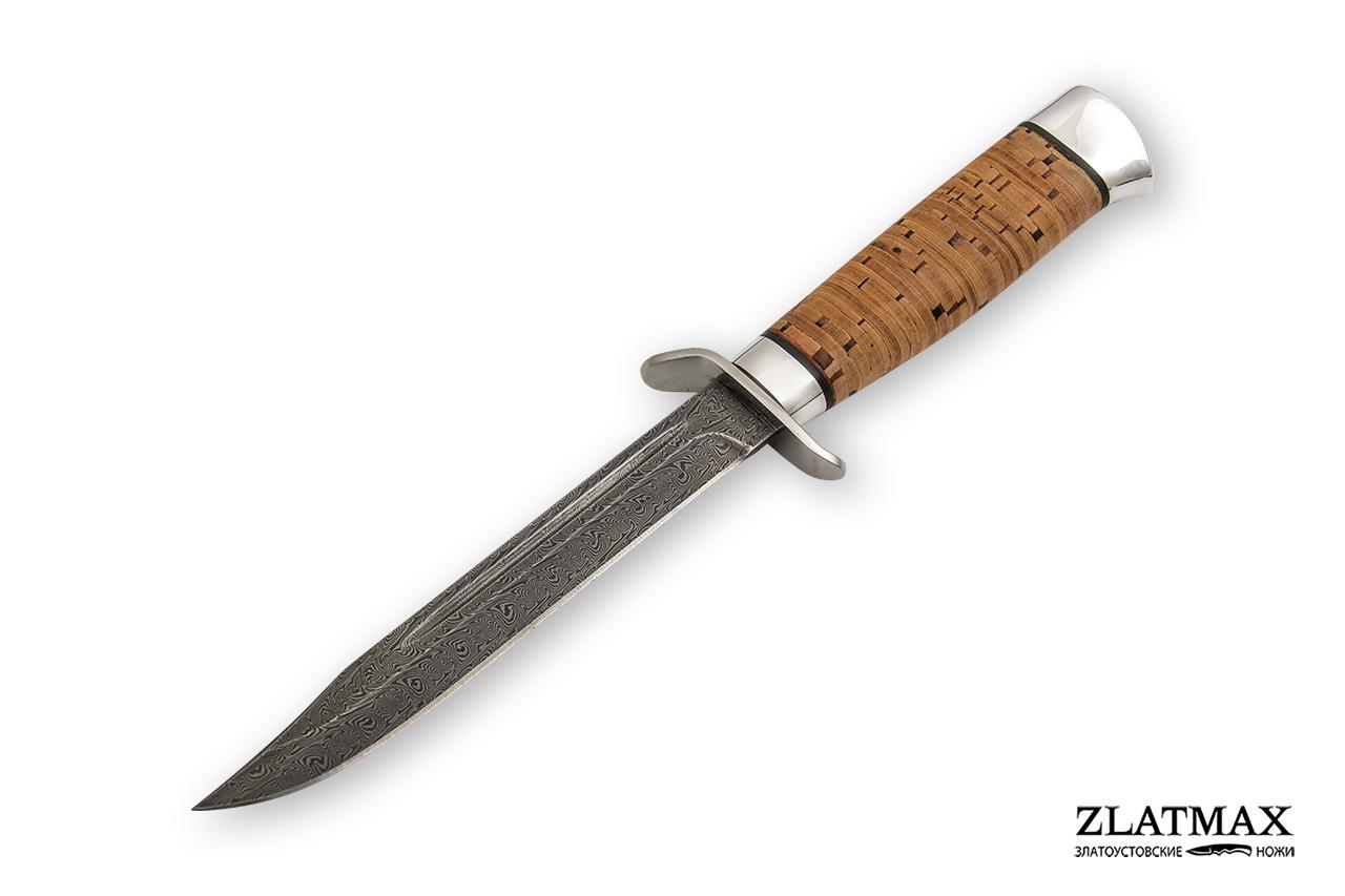 Нож Разведчика (Дамаск ZDI-1016, Наборная береста, Нержавеющая сталь) фото 01