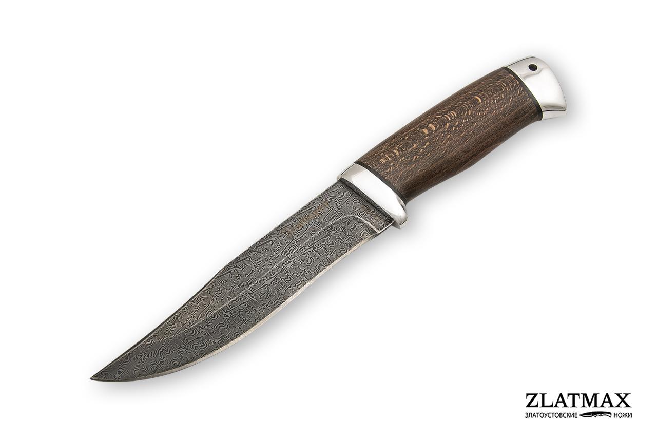 Нож Таежный-1 (Дамаск ZDI-1016, Стабилизированный бук, Алюминий) фото 01