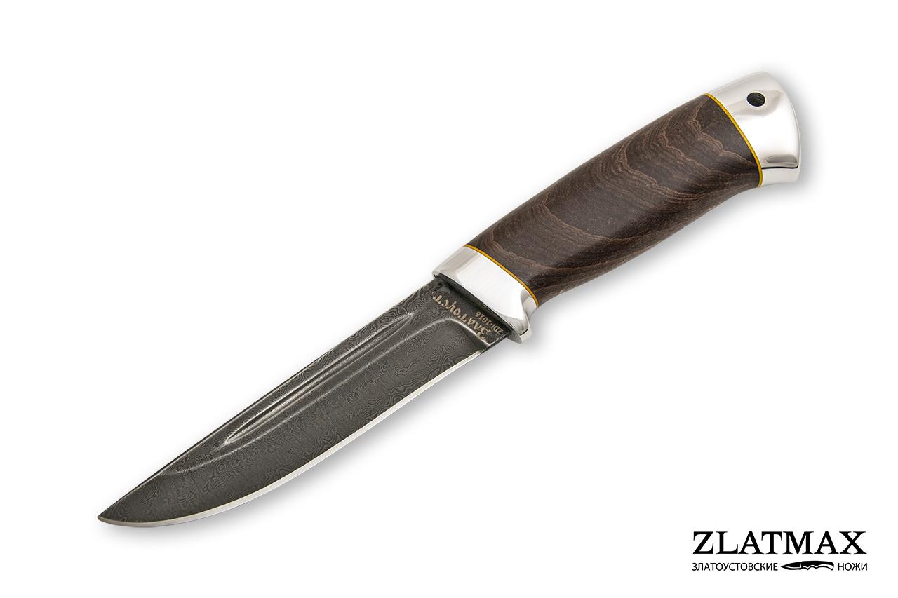Нож Куница-2 (Дамаск ZDI-1016, Стабилизированный бук коричневый, Алюминий) фото 01