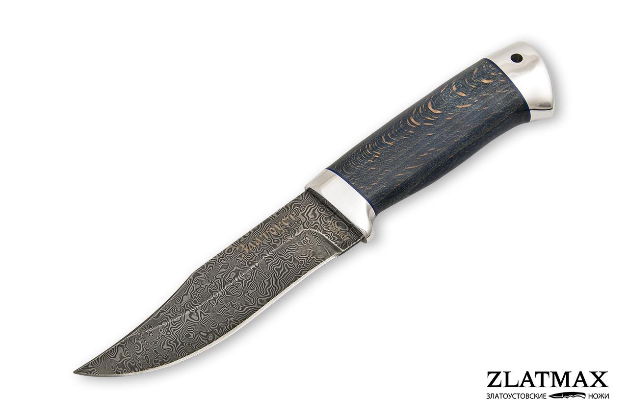 Нож Таежный малый (Дамаск ZDI-1016, Стабилизированный бук синий, Алюминий) фото 01