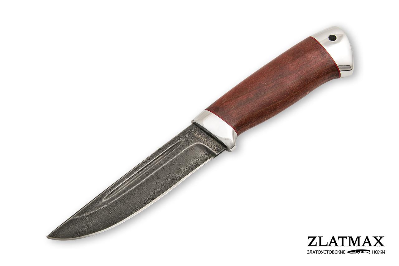Нож Куница-2 (Дамаск ZDI-1016, Стабилизированный бук красный, Алюминий) фото 01