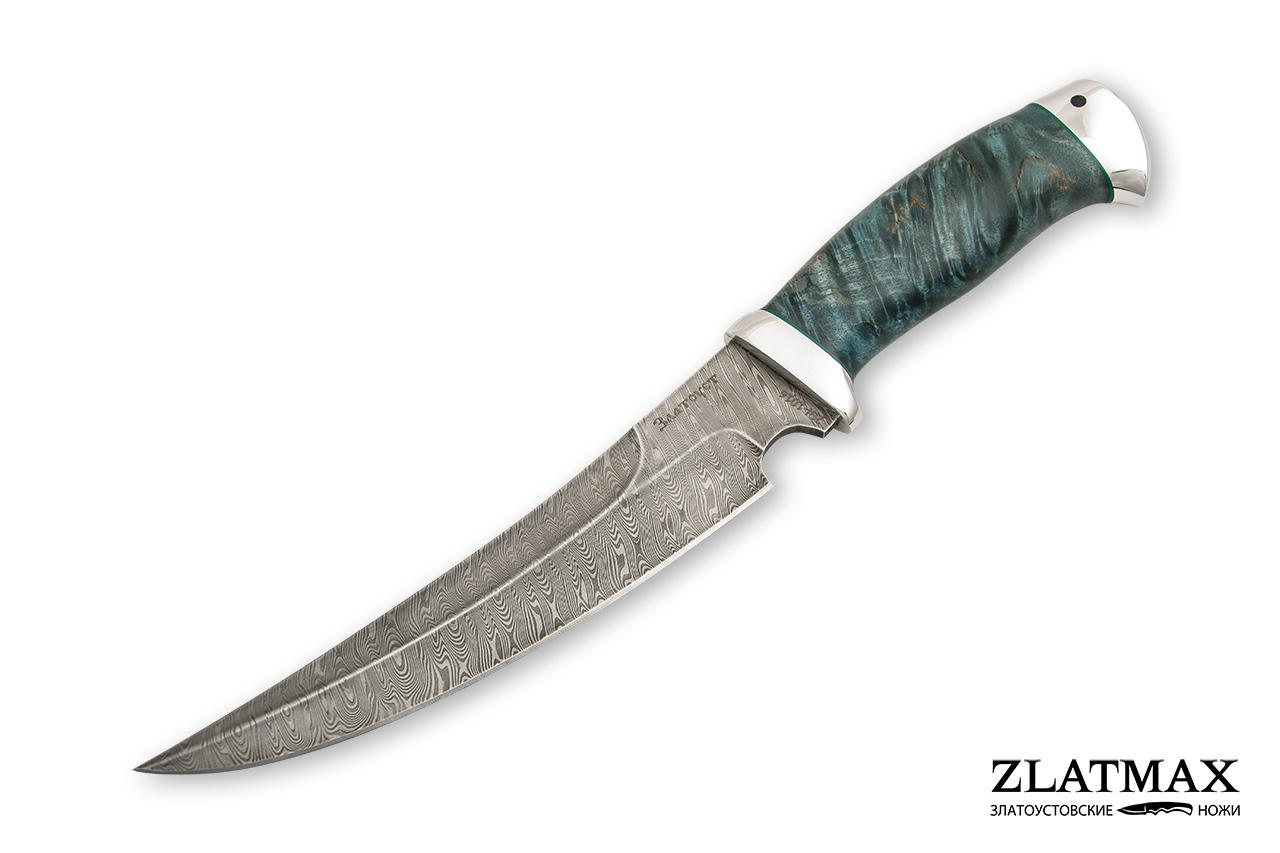 Нож Гюрза (Дамаск ZDI-1016, Стабилизированная карельская береза, Алюминий) фото 01