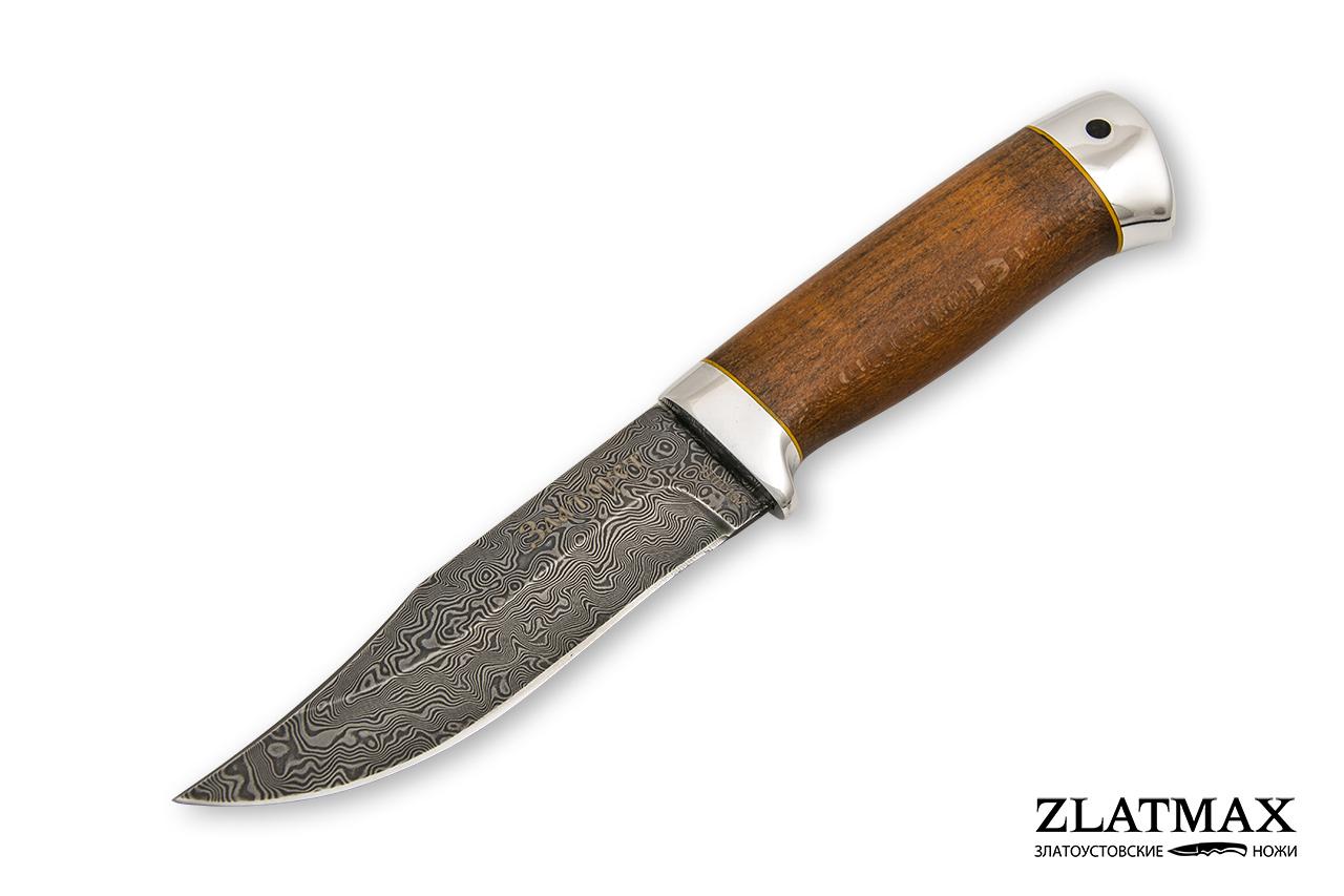 Нож Таежный малый (Дамаск ZDI-1016, Стабилизированный бук жёлтый, Алюминий) фото 01