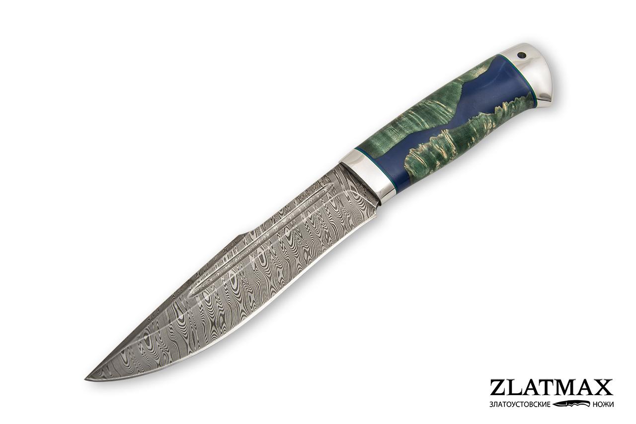 Нож Хищник (Дамаск ZDI-1016, Стабилизированная карельская береза, Алюминий) фото 01