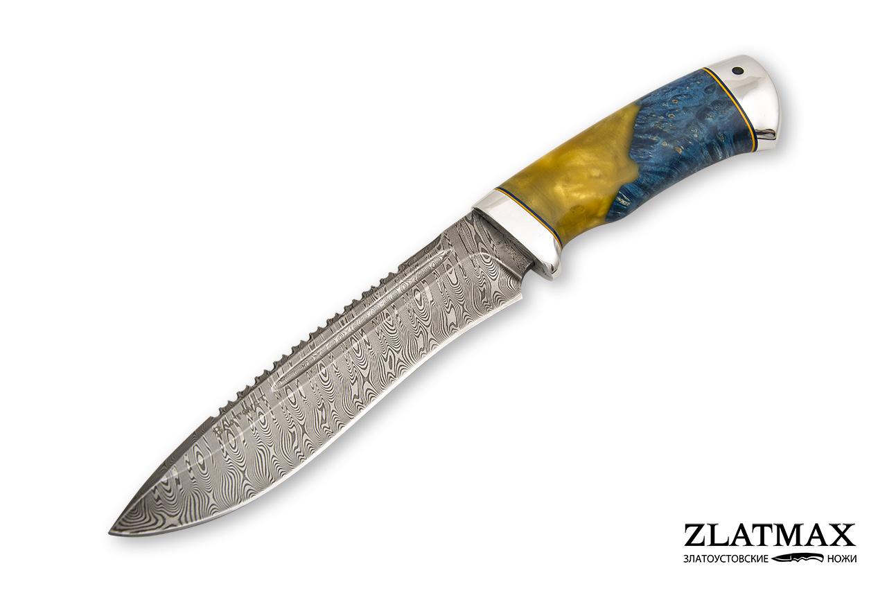 Нож Кондор (Дамаск ZDI-1016, Стабилизированная карельская береза, Алюминий) фото 01