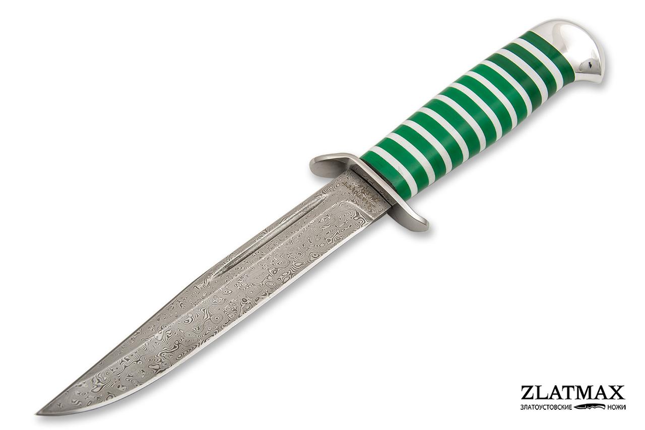 Нож Воин Пограничник (Дамаск ZDI-1016, Оргстекло, Нержавеющая сталь, Алюминий) фото 01