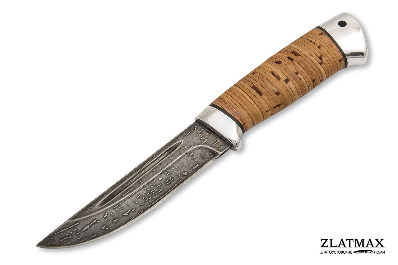 Нож Куница-2 (Литой булат, Наборная береста, Алюминий) фото 01