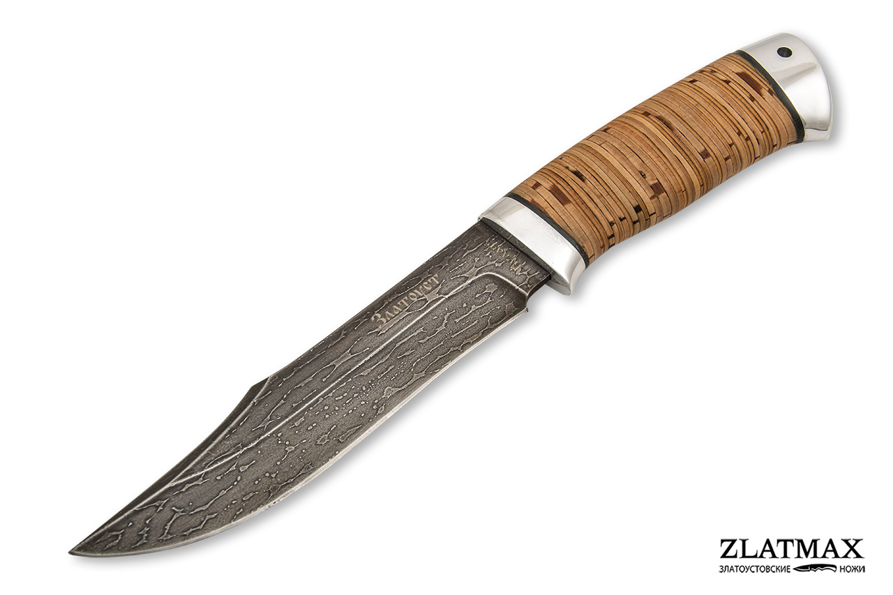 Нож Акела (Литой булат, Наборная береста, Алюминий) фото 01