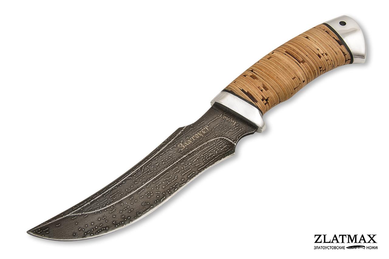 Нож Крюк (Литой булат, Наборная береста, Алюминий) фото 01