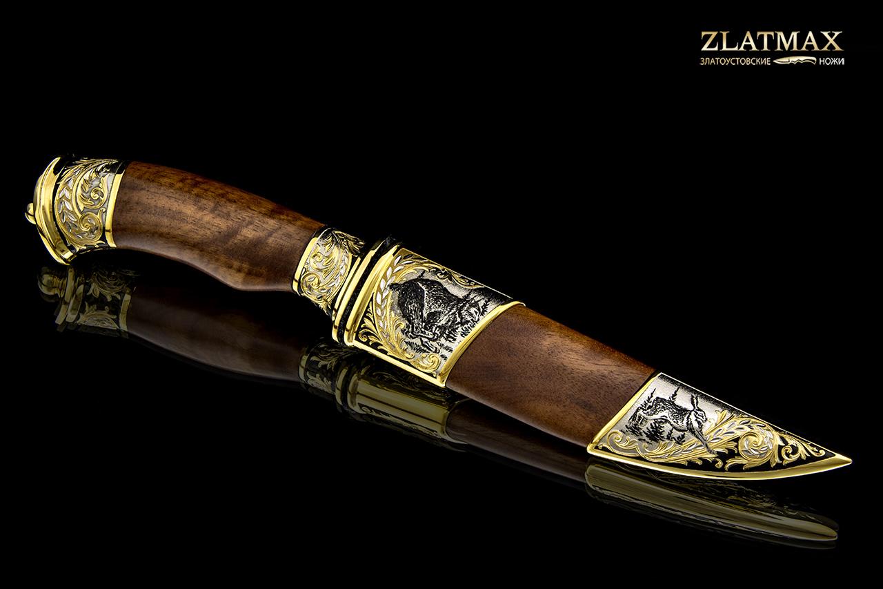 Нож Спец ДН (100Х13М, Берёзовый кап, Латунь, Золочение клинка гарды и тыльника) фото 01