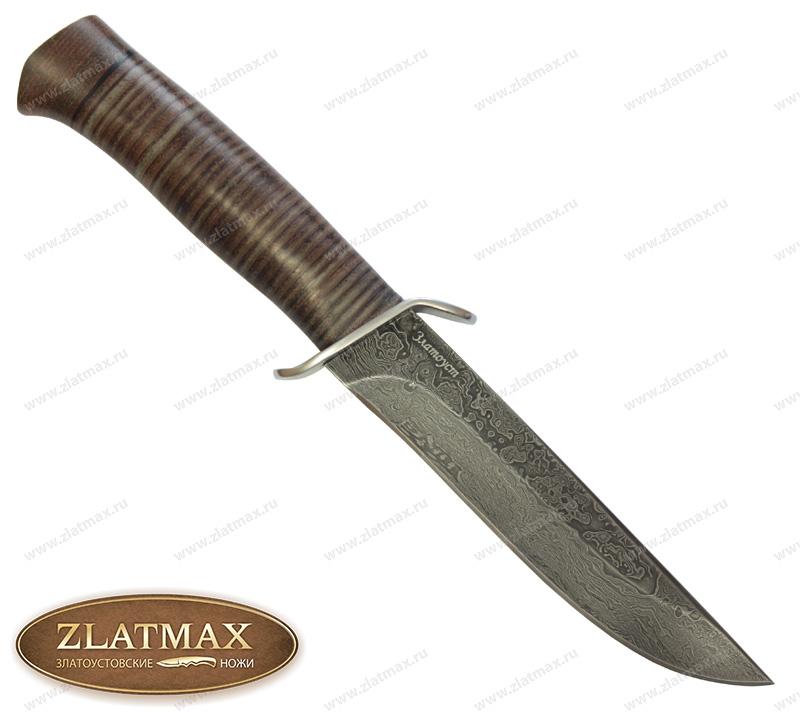 Нож Чекист (Дамаск, Наборная кожа, Нержавеющая сталь, Текстолит) фото-01
