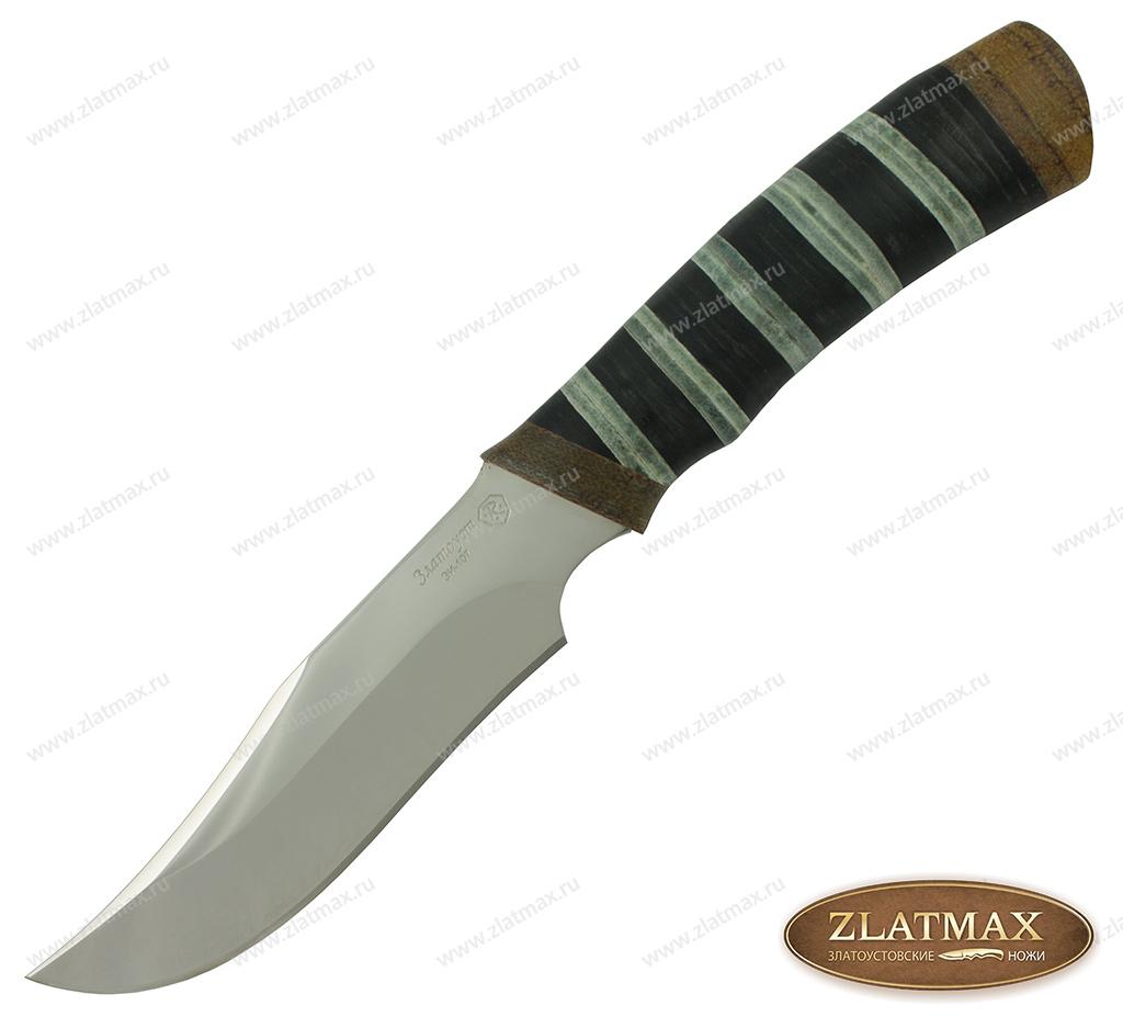Нож Багира (40Х10С2М, комбинированная наборная кожа, текстолит,золочение рисунка на клинке) фото 01