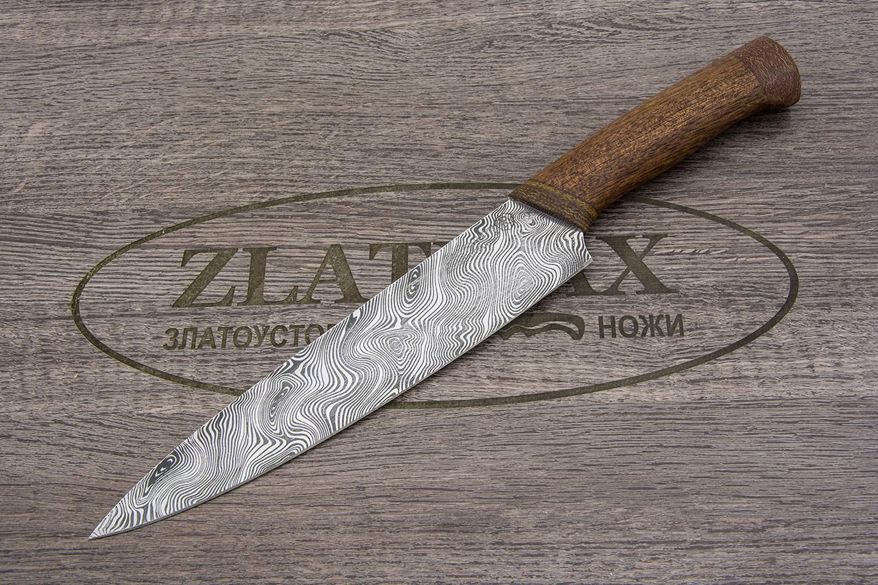 Нож Империя-1 (40Х10С2М, Орех, Текстолит, Имитация дамасского рисунка травлением ) фото 01