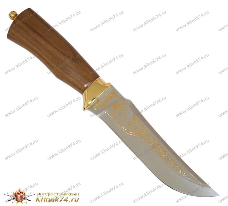 Нож Егерь (40Х10С2М, Орех, Латунь, Золочение клинка гарды и тыльника) фото 01