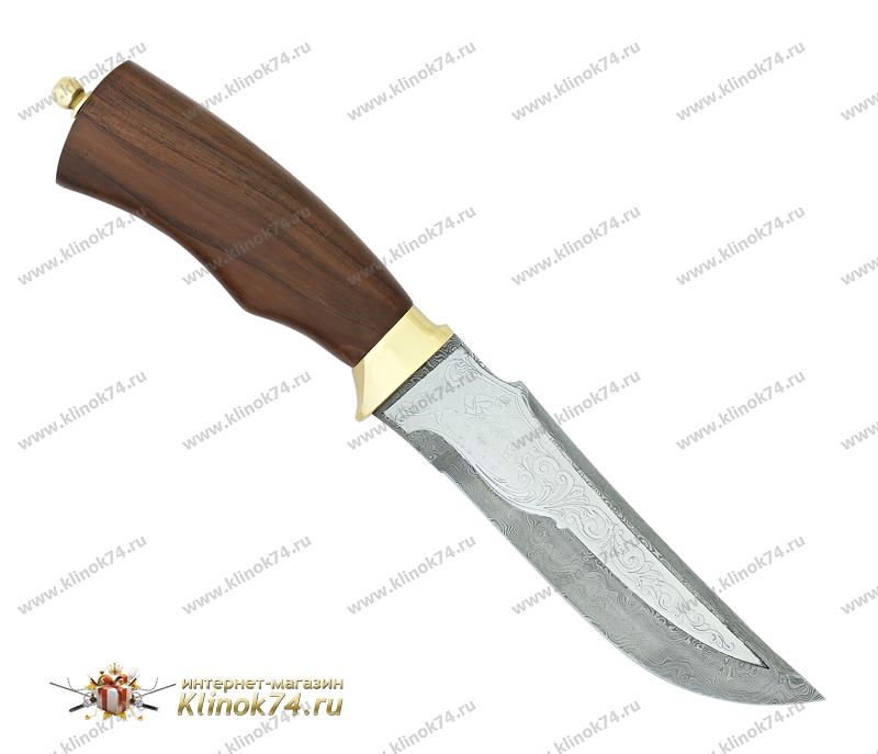 Нож Егерь (Дамаск, Орех, Латунь) фото 01
