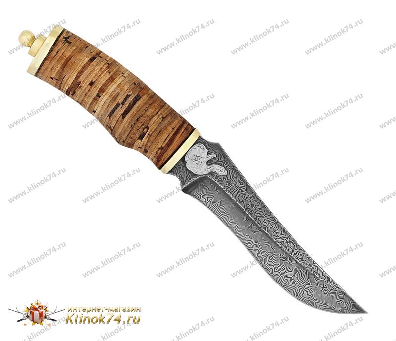 Нож Рыбацкий (Дамаск, Наборная береста, Латунь) фото 01
