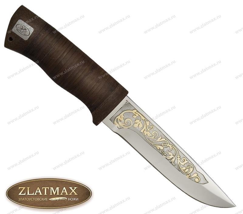 Нож SN-1 (40Х10С2М, Наборная кожа, Текстолит, Золочение рисунка на клинке) фото 01