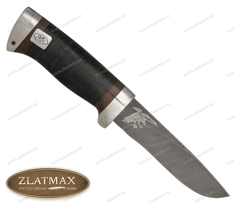 Нож Беркут (Дамаск, Наборная кожа, Алюминий) фото 01