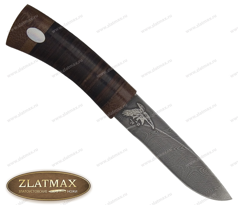 Нож Беркут (Дамаск, Наборная кожа, Текстолит) фото 01