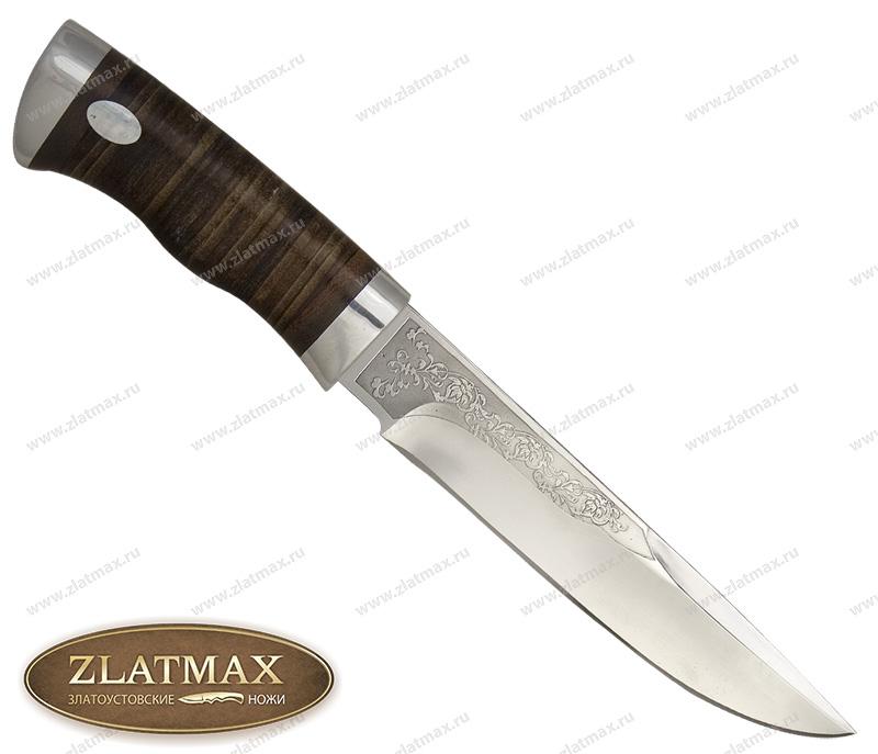 Нож Боровик большой (ЭИ-107, Наборная кожа, Алюминий) фото 01