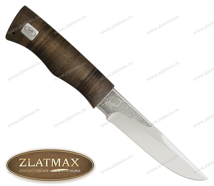 Нож Боровик средний (ЭИ-107, Наборная кожа, Текстолит) фото 01