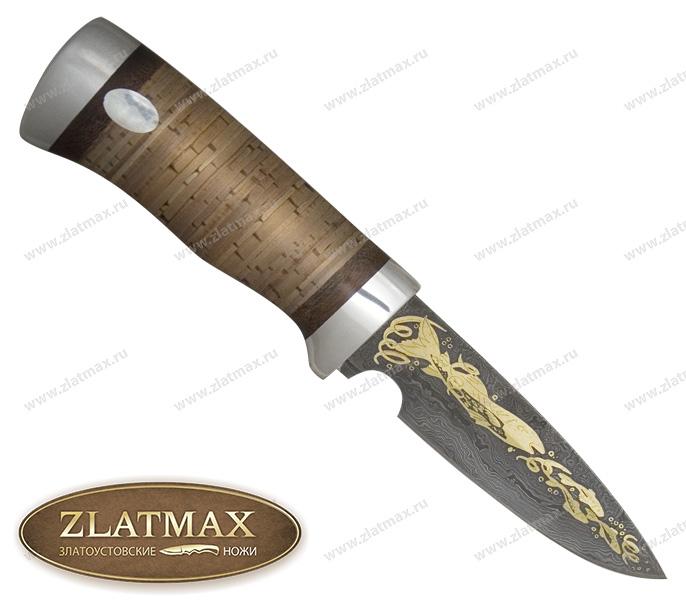 Нож Гепард (Дамаск, Наборная береста, Алюминий) фото 01