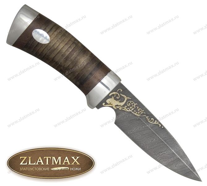Нож Гепард (Дамаск, Наборная кожа, Алюминий, Золочение клинка (Дамаск)) фото 01