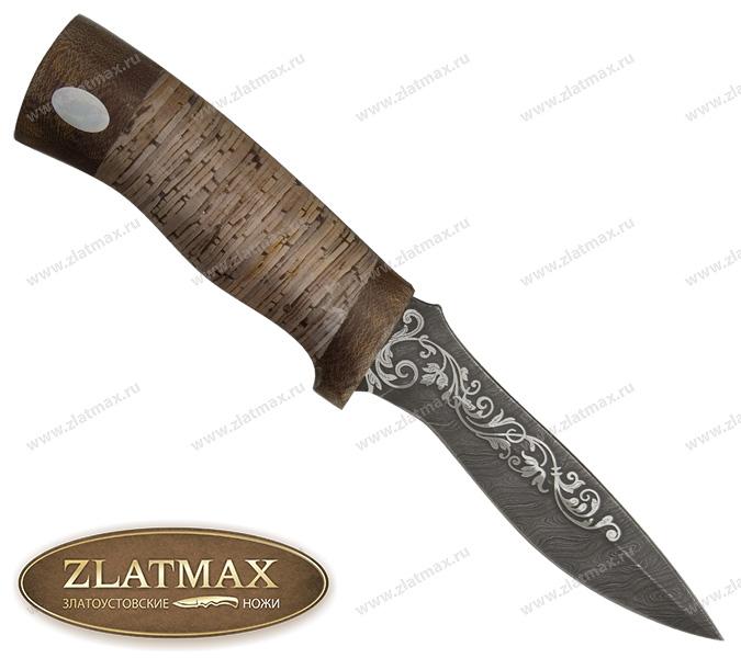 Нож Дельфин (Дамаск, Наборная береста, Текстолит) фото 01