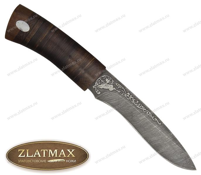 Нож Ильмень (Дамаск, Наборная кожа, Текстолит) фото 01