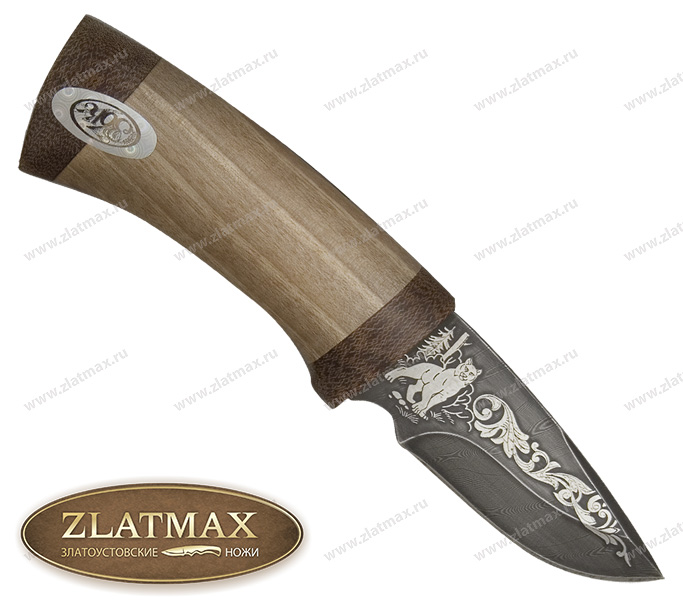 Нож Карась (Дамаск, Орех, Текстолит) фото 01