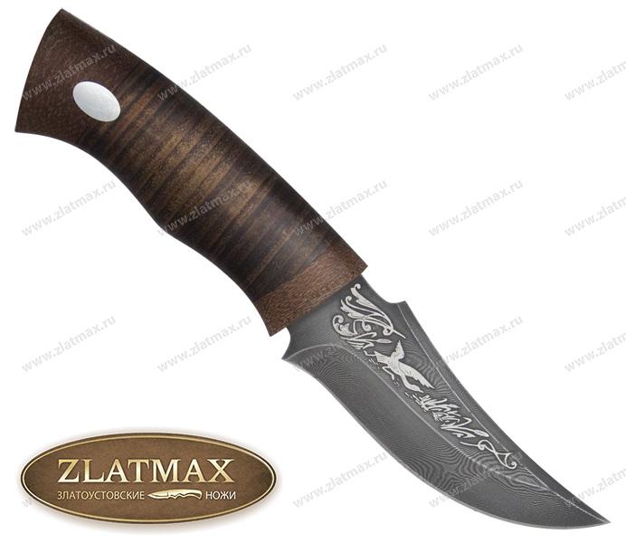 Нож Корсар (Дамаск, Наборная кожа, Текстолит) фото 01