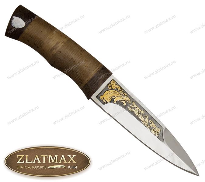Нож Ласка (40Х10С2М, Наборная береста, Текстолит, Золочение рисунка на клинке) фото 01