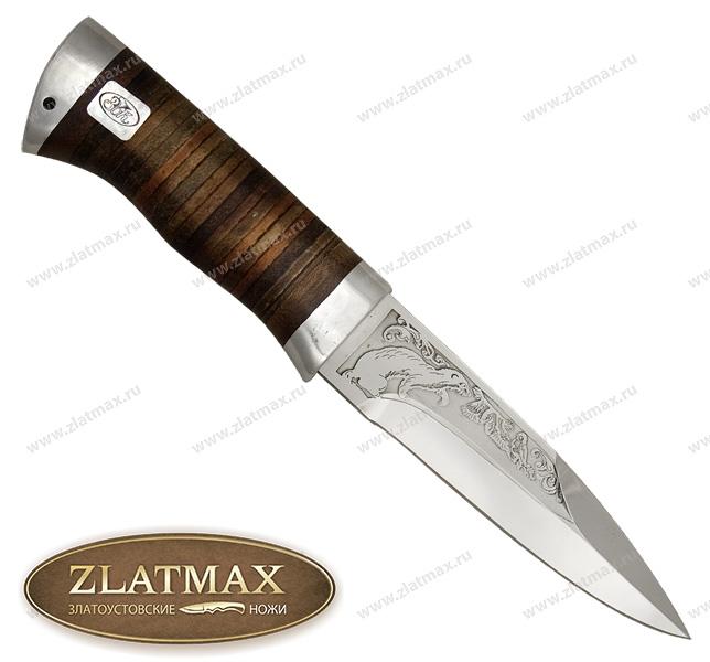 Нож Ласка (ЭИ-107, Наборная кожа, Алюминий) фото 01