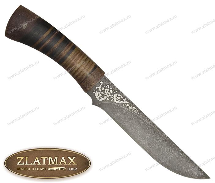 Нож Ястреб (Дамаск, Наборная кожа, Текстолит) фото 01