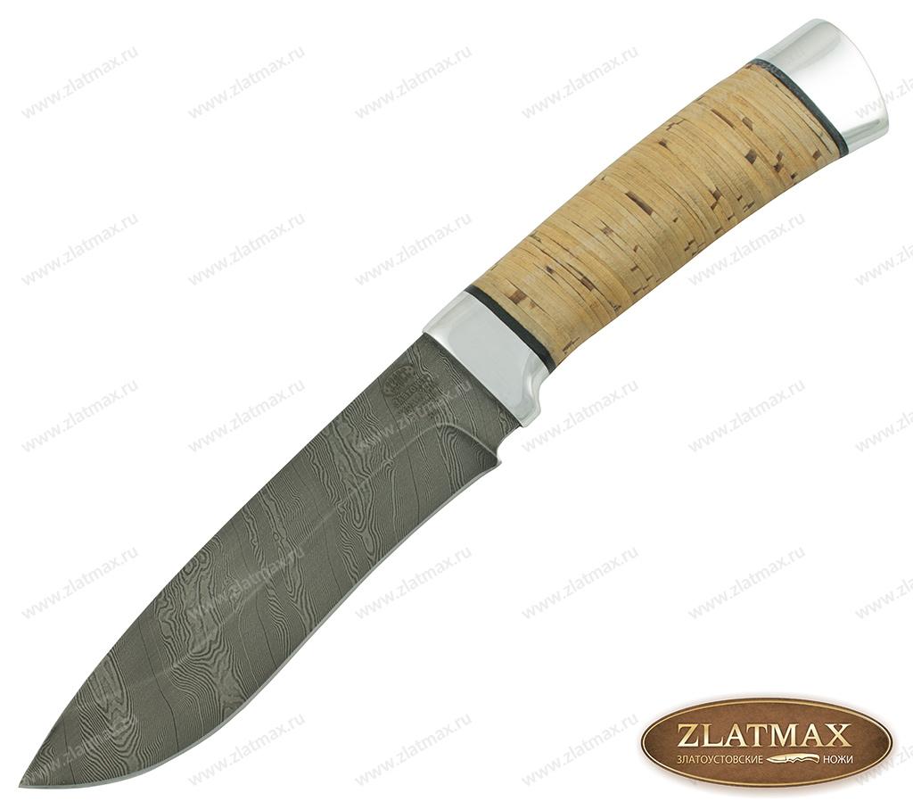 Нож Н6 (Дамаск У10А-7ХНМ, Наборная береста, Алюминий) фото 01