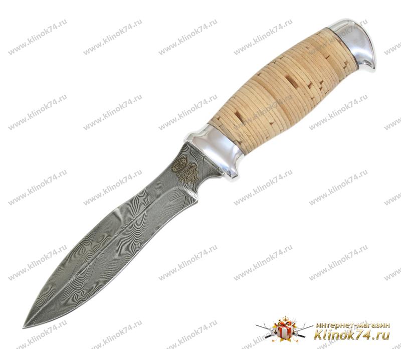 Нож Н21 (Дамаск У10А-7ХНМ, Наборная береста, Алюминий) фото 01