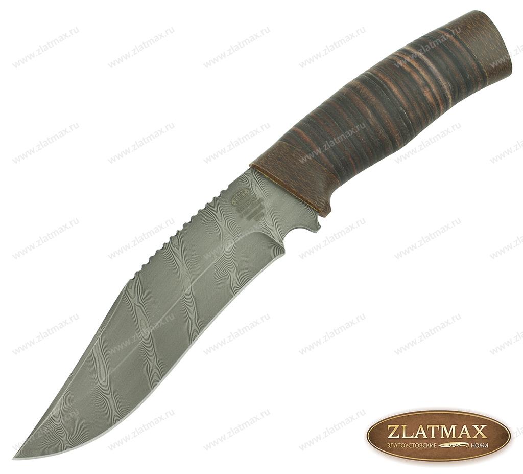 Нож Н73 (Дамаск У10А-7ХНМ, Наборная кожа, Текстолит) фото 01